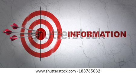 Success Information concept: arrows hitting the center of target, Red Information on wall background, 3d render - stock photo