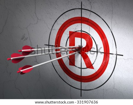 Success law concept: arrows hitting the center of Red Registered target on wall background - stock photo