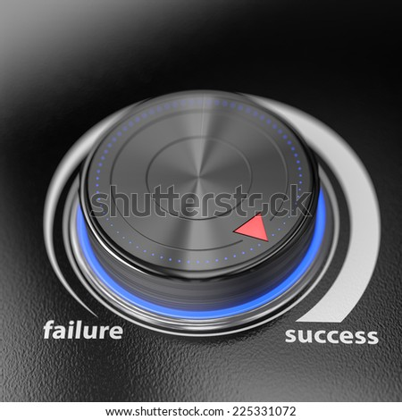 Success level controler with blur effect. Render image for business and motivation concepts