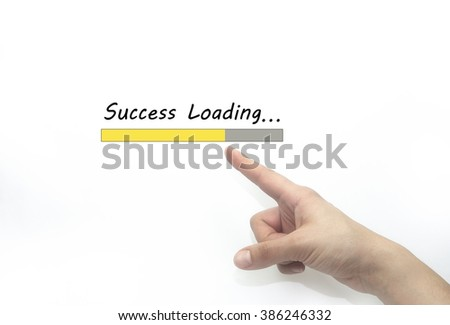 success loading Progress bar design with hand, business style concept. isolated on white - stock photo