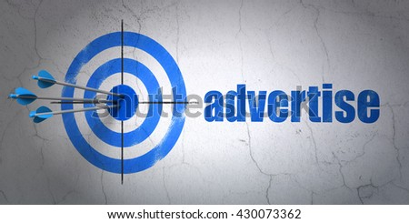 Success marketing concept: arrows hitting the center of target, Blue Advertise on wall background, 3D rendering - stock photo