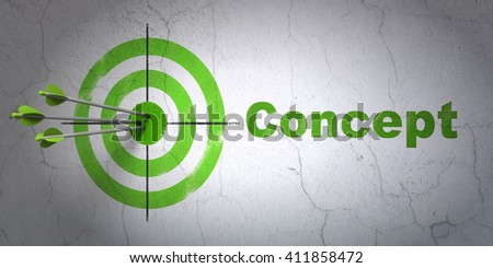 Success marketing concept: arrows hitting the center of target, Green Concept on wall background, 3D rendering - stock photo