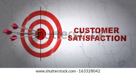 Success marketing concept: arrows hitting the center of target, Red Customer Satisfaction on wall background, 3d render - stock photo