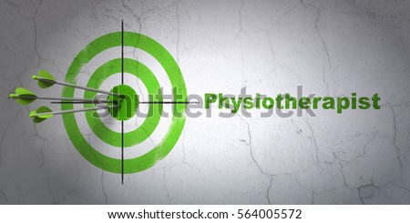 Success Medicine concept: arrows hitting the center of target, Green Physiotherapist on wall background, 3D rendering