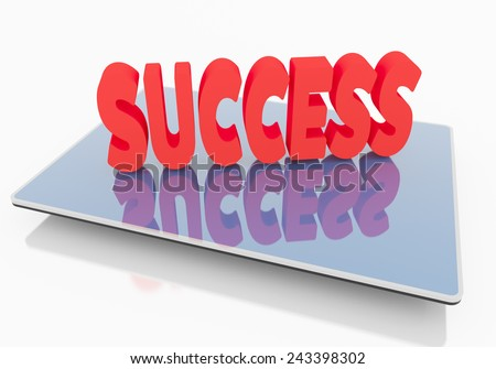 Success on Tablet, business internet and technology concept