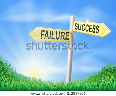 Success or failure sign concept with a choice to make - stock photo