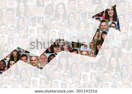 Success or successful growth strategy in business with group of people background - stock photo