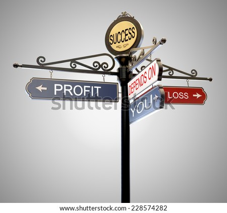 Success Profit loss  it's depends on you text , Its Up to You Words street sign arrow Choice Responsibility direction isolated on gray background. This has clipping path. - stock photo