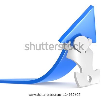 Success. Puzzle people raising an arrow. Blue. - stock photo