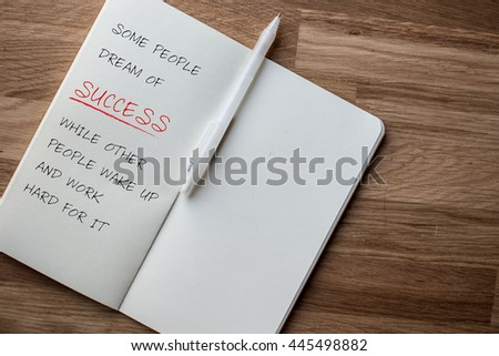 Success quote - work hard for success