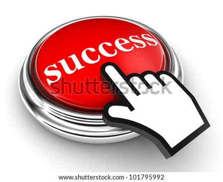 success red button and cursor hand on white background. clipping paths included - stock photo