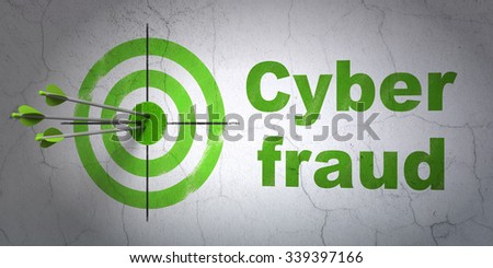Success safety concept: arrows hitting the center of target, Green Cyber Fraud on wall background - stock photo