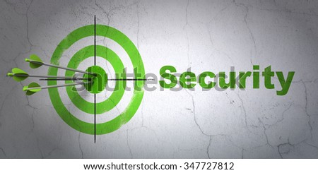 Success security concept: arrows hitting the center of target, Green Security on wall background - stock photo