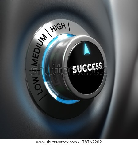 Success selector button with blue and grey tones. Conceptual 3D render image with depth of field blur effect. Concept suitable for successful business or motivation - stock photo