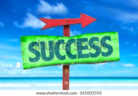 Success sign with beach background - stock photo