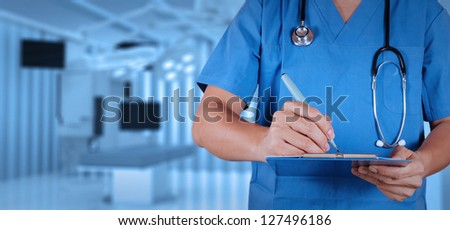 success smart medical doctor working with operating room - stock photo