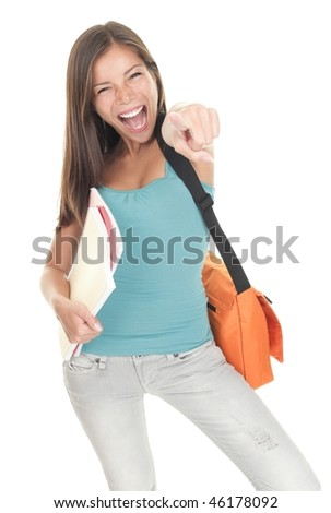 Success student excited isolated on white background. Beautiful cute mixed race caucasian / chinese young woman model. - stock photo