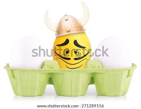 Success Symbol Concept. leader Easter Egg standing out from the others - stock photo