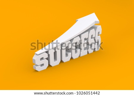 success text in white colo...round, 3d illustration