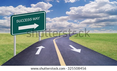 success way on green sign with road and blue sky, concept in success and opportunity in business  - stock photo