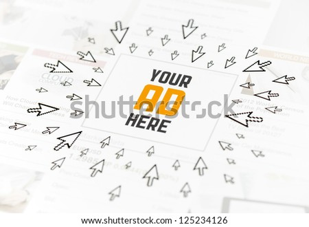 "Success web advertisement with text ""YOUR AD HERE"" and lot of clicking pointers around. Conceptual image. - stock photo"