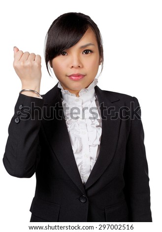 Success / winner business woman isolated. Funny image of celebrating happy young businesswoman with her arms up / cheer up - stock photo