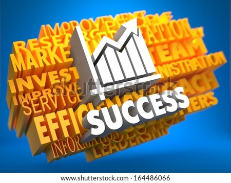 Success with Growth Chart Icon on Yellow WordCloud on Blue Background. - stock photo