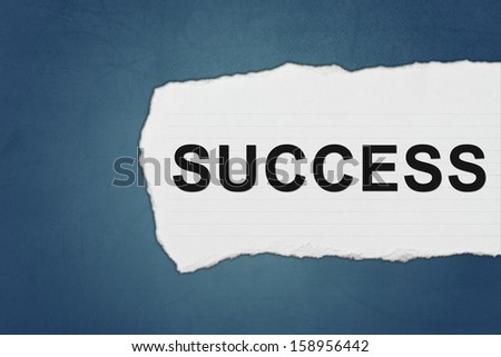 success with white paper tears on blue texture - stock photo