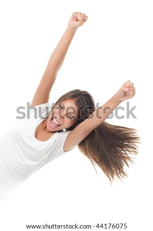 Success woman screaming of joy coming out from the side. Isolated on white background. - stock photo