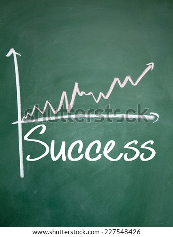 success word and chart sign on blackboard - stock photo