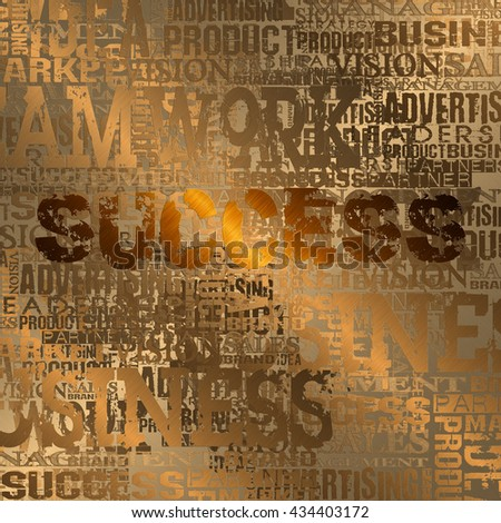 Success Word Cloud Concept Background. Gold Style - stock photo