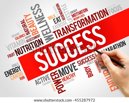 Success word cloud, fitness, sport, health concept background - stock photo