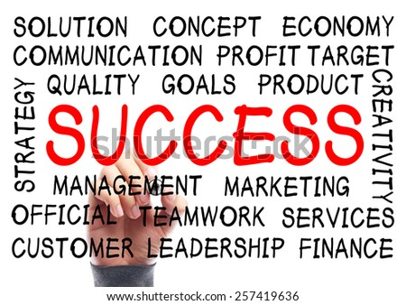 Success word cloud is written on transparent whiteboard by the hand of a businessman. - stock photo