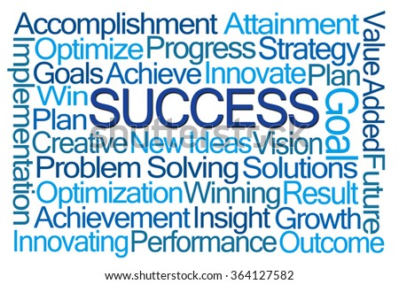 Success Word Cloud on White Background - stock photo