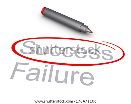 Success word is circled rather than the Failure word, and a marker - stock photo