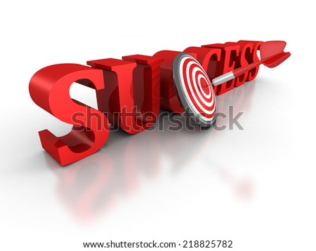 SUCCESS word with red dart arrow in center of target. 3d render illustration - stock photo