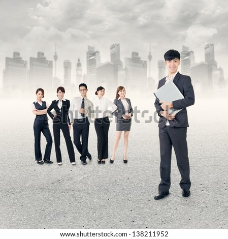 Successful Asian business team. - stock photo