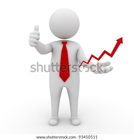 Successful business concept, 3d business man thumbs up with red rising arrow on his hand isolated on white background