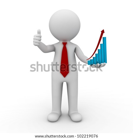 Successful Business Concept, 3d businessman showing thumbs up with rising graph chart on his hand on isolated white background - stock photo