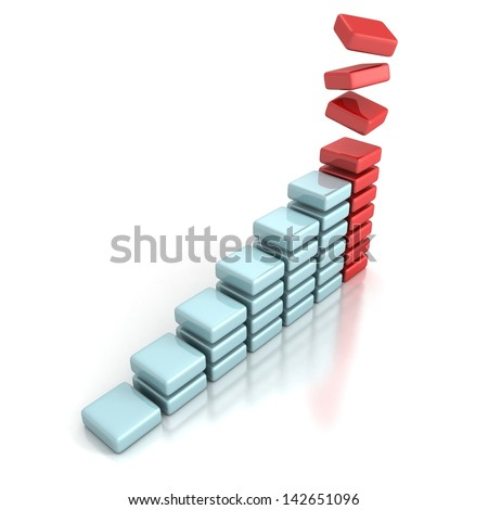 successful business financial bar chart on white - stock photo