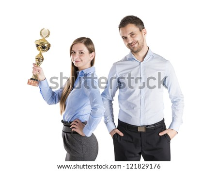 Successful business man and woman are celebrating on isolated white background - stock photo