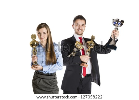 Successful business man and woman are celebrating on isolated white background. - stock photo