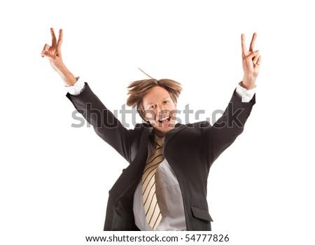 successful business man jump - stock photo