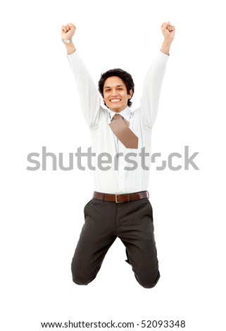 Successful business man jumping isolated over a white background - stock photo