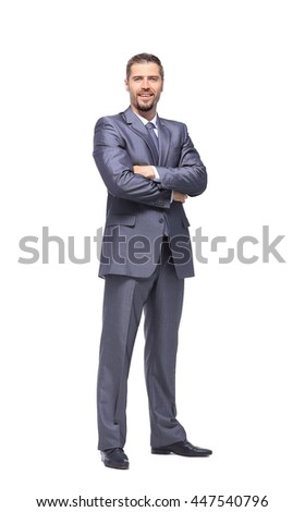 Successful business man on white background - stock photo