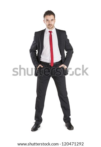 Successful business manager is standing on isolated white background - stock photo