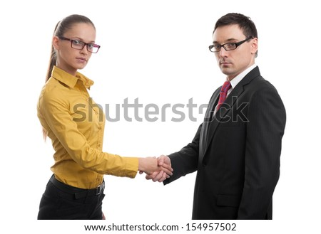 Successful business partners handshaking. Isolated on white background - stock photo