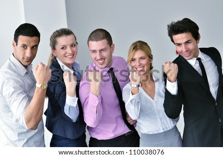 Successful business people doing some paperwork during a meeting - stock photo