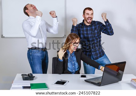 Successful business people hands up - stock photo