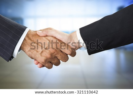 Successful business people handshaking closing a deal - stock photo